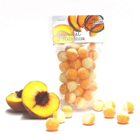 Peach Bellini Hard Boiled Sweets Pouch - Gourmet Range The Treat Kitchen Confectionery 200g